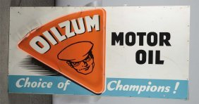 Oilzum Motor Oil Sign With Neon Added