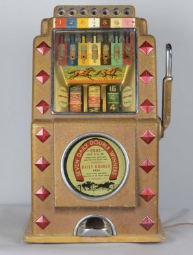 Rare 5¢ Caille Horse Race Multi Bell Slot Machine