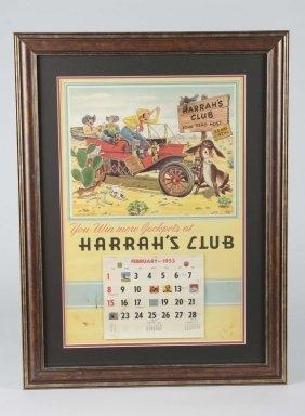 Harrah's Club Advertising Calendar In Frame