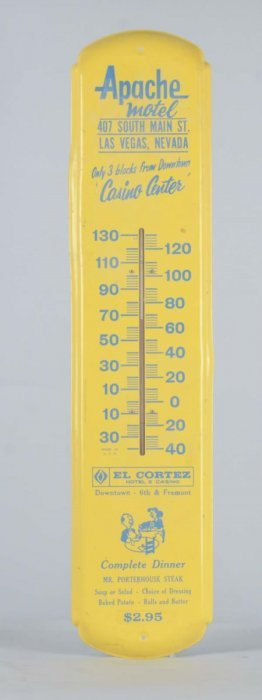 El Cortez Apache Motel Porcelain Thermometer Sign