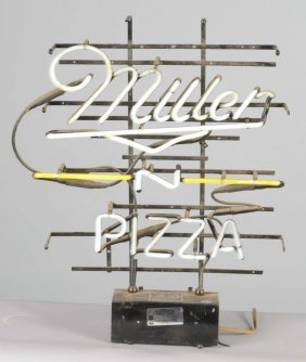 Miller Beer And Pizza Neon Advertising Sign