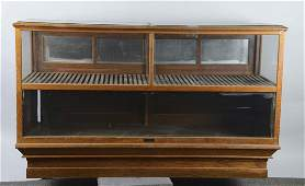 Large Two Section Wood  Glass Floor Display Case