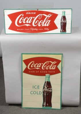 Lot Of 2: Coca Cola Tin Menu Board And Sign