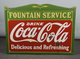 Drink Coca Cola Fountain Service Porcelain Sign
