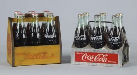 Lot Of 2: Coca Cola Bottle Carriers With Bottles