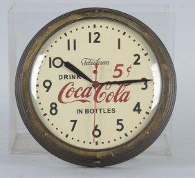 Vintage Telechron Coca Cola Round Wall Clock