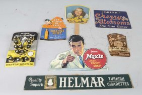 Lot Of 7: Vintage Cardboard Advertising Signs