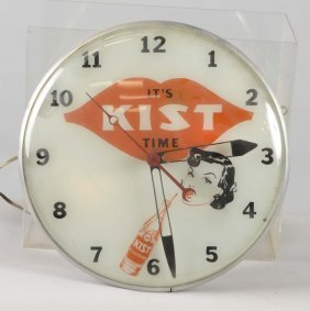 It's Kist Time With Lady & Bottle Lighted Clock