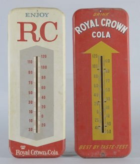 Lot Of 2: Royal Crown Cola Tin Thermometer Signs