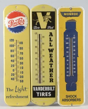 Lot Of 3: Advertising Tin Thermometer Signs