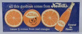 Nesbitt's Flavored For Flavors Embossed Tin Sign