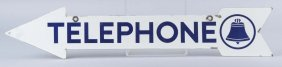 Telephone With Bell Logo Arrow Shaped Sign