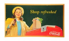 1948 Shop Refreshed Coca - Cola Poster.