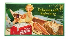 1953 Coca - Cola Girl In Canoe Poster.