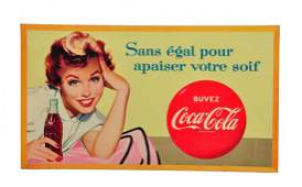 1949 1950s Cardboard French Coca Cola Sign