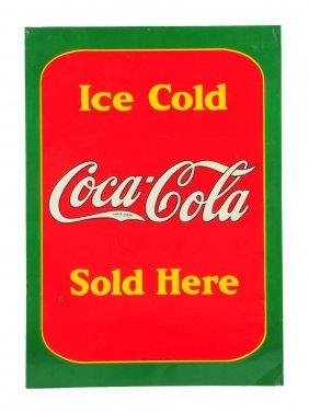 1938 Coca - Cola Embossed Tin Sidewalk Sign.