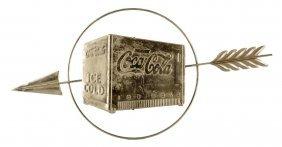 1930's Coca - Cola Metal Cooler And Arrow Sign.