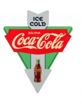 1930's Coca - Cola Two Sided Plywood Triangle.