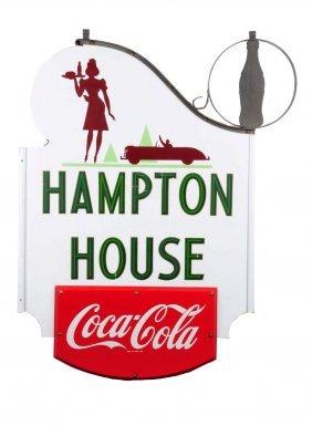 1940's Coca - Cola Porcelain Curb Service Sign.