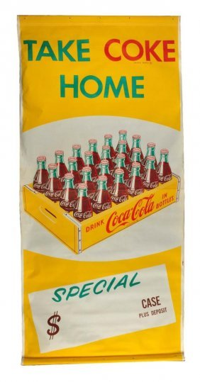 1950's Coca - Cola Large Outdoor Canvas Banner.