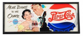 1950's Pepsi - Cola Cardboard Trolley Sign.