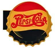 Scarce 1940s Pepsi Cola Tin Flange