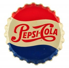 1950's Pepsi - Cola Embossed Tin Bottle Cap Sign.