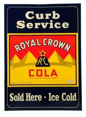 1930's - 40's Rc Cola Embossed Tin Sidewalk Sign.