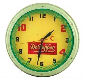 Late 1930's - 40's Dr. Pepper Lackner Neon Clock.