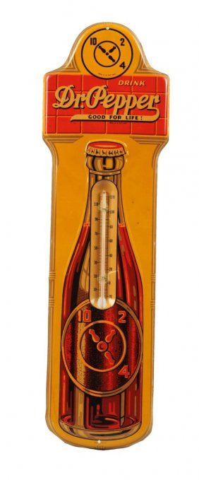 1930's Dr. Pepper Embossed Tin Thermometer.