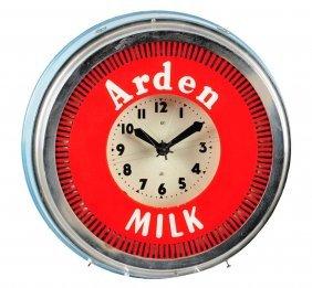 1940's - 1950's Arden Milk Neon Spinner Clock.