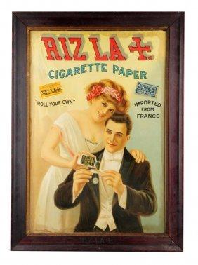 Riz La Cigarette Paper Cardboard Advertising Sign.