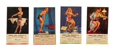 Lot of 4 1940s Pin Up Calendar Pads