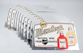 Lot Of 11: 1950's - 60's Mantey's Wine Signs.