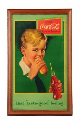 1920's Coca - Cola Paper Poster With Boy.