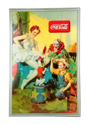 Rare 1936 Coca - Cola Cardboard Poster.