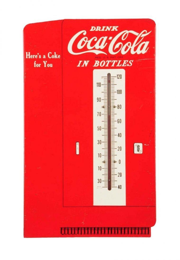 Rare Prototype 1940's Coca-Cola Tin Thermometer.