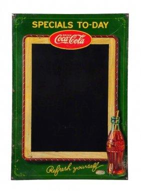 1930's Coca - Cola Embossed Tin Menu Board.