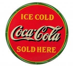 1932 Coca - Cola Embossed Tin Sign.