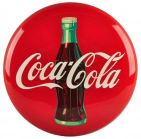 "Rare Prototype Coca-cola 16"" Button With Bottle."