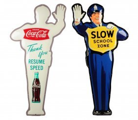 Beautiful 1960's Coca - Cola Policeman And Box.