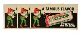 Lot Of 3: 1930's-40's Wrigley's Gum Trolley Cards.
