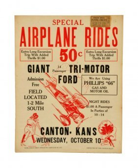 1920's Airplane Rides Cardboard Poster.
