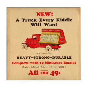 1930's Coca - Cola Metalcraft Truck Paper Sign.
