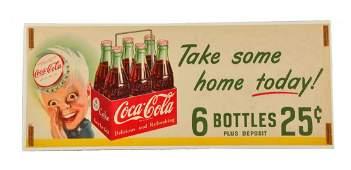 1950 Coca - Cola Paper Sprite Boy Sign.