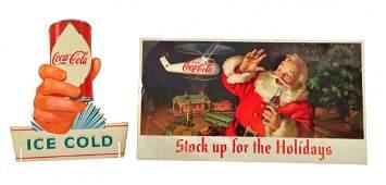 Lot Of 2: Coca-Cola Paper Poster & Cardboard Sign.