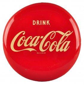 1951 Coca - Cola Tin Button Sign.