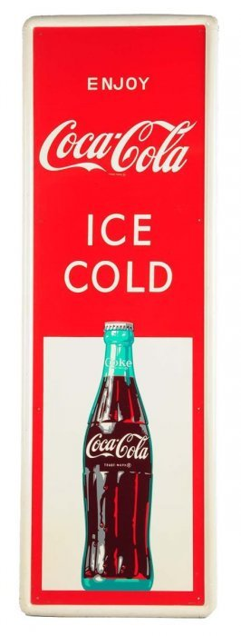 1960's Coca - Cola Tin Sign With Bottle.