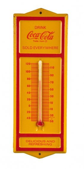 1970's - 80's Coca - Cola Tin Thermometer.