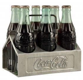 Embossed 1950's Coca - Cola Aluminum Carrier.